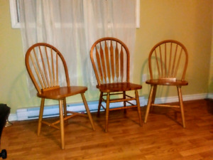 2 matching  solid Maple ,1 oak dining  chairs