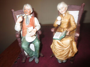 Lot of 2 Antique or Vintage Old Man & Old Women Figurines 7 Inch