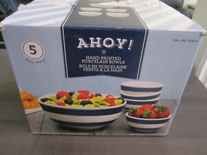 "Bowl Set..Hand Painted Porcelain ""AHOY!"" 5 pieces, NEW in Box"