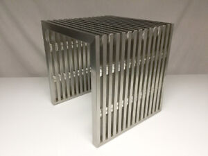 Mid-century style stainless slat end table