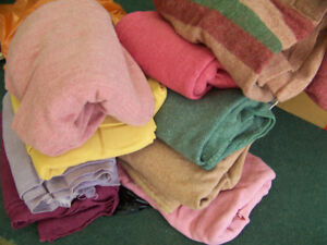 BLANKETS (TWO DOZEN) AND FABRIC