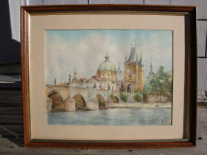 Large Water Color Painting Framed Glass Covered Signed By Artist