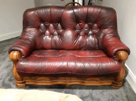 Oxblood leather sofa