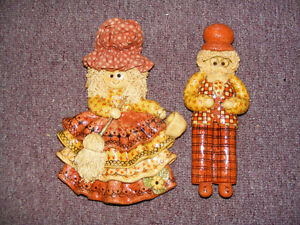 Vintage Ornament Dough Grandma with a Mop and Grandpa - 60s/70s