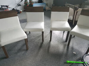 Solid wood White dining chairs