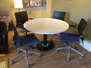 "48"" ROUND TABLE W/ 4 HIGH-END DESIGNER CHAIRS"