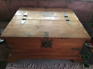 Rustic, wood coffee table chest