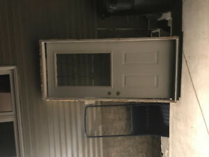 "36 "" door with glass to give away. White and needs some tlc."