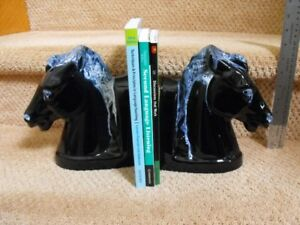 Blue Mountain Pottery Granite Blue Horse Bookends