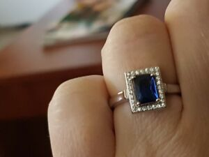 lab sapphire sterling silver ring