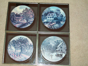 "VINTAGE ""CURRIER AND IVES"" MIRRORED PRINTS"
