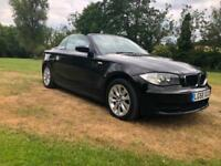 2008 58 REG BMW 118 2.0 i ES CONVERTIBLE BLACK FULL GREY LEATHER HPI CLEAR