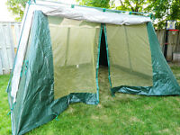 11' x 11' x 8' screen tent with rain flaps