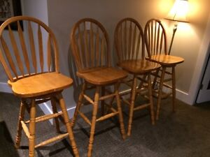 4 Slightly Used Bar Height Swivel Chairs - $200 or best offer