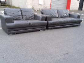 Dark Brown Leather 2&3 Seater Sofas