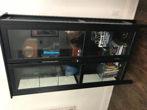 IKEA Hemnes cabinet with glass doors & Structube coffee table