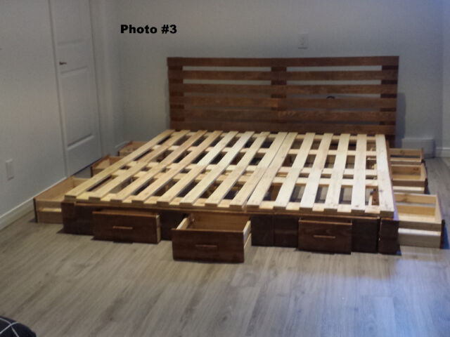 base de lit en bois de palettes double queen king beds mattresses sherbrooke kijiji. Black Bedroom Furniture Sets. Home Design Ideas