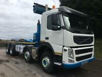 2012 12 Volvo FM 420 8x4, Hiab Hookloader, sheet, piped for draw bar