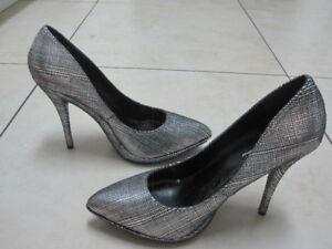 silver stilettos - Size 8 - New