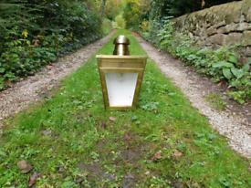 Large brass Victorian style half wall lamp/light/lantern house outside
