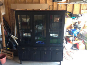 Charcoal Hutch and Display Cabinet 4 Sale