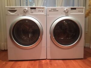 Bosch Vision front-load clothes washer and dryer.