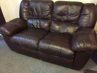 Luxury dark brown fultons full leather reclining sofa