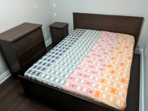 IKEA Bedroom Set- Queen Bed, mattress, Drawer Chest & side table
