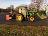 John Deere 5400 4WD with loader and snow blower