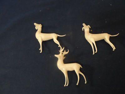 3 Teile alter Christbaumschmuck von Lauscha 2 Hunde und ein Hirsch