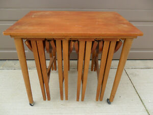 Vintage Danish Nest Of 5 Tables Retro Modern 1960's Teak/Beech