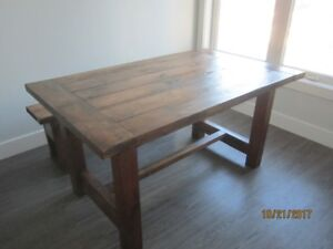 Pine farmhouse tables and benches