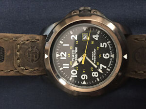 Timed men's brown expedition rugged field watch