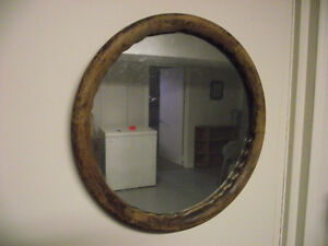 Antique Wooden Car Steering Wheel Mirror