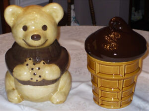 2 Cookie Jars (Teddy Bear and Ice Cream Cone) $25 for both