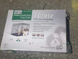 folding double door small dog crate