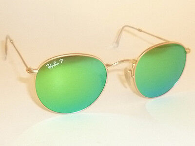 Ray Ban  Sunglasses Round Metal Matte Gold Rb 3447 112 P9 Polarized Green Mirror