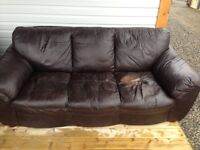 Brown leather couch, chair & foot rest