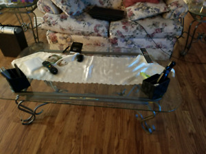 Wrought iron glass coffee table set
