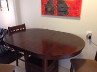 Bar style dinning room table