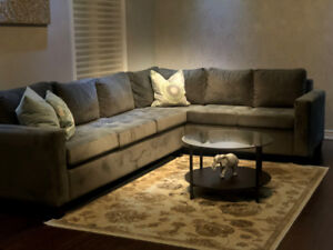 Gorgeous Velvet Suede Sectional! Barely Used-Mint Condition Sofa