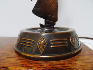 1930s COPPER FIGURAL LAMP charming MAN with AXE oak base CUPCAKE Kitchener / Waterloo Kitchener Area image 3