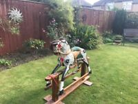 Rocking horse collinson of Liverpool vintage horse grey and black with walnut frame