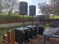 P/a speaker and base bins 450 mackie active