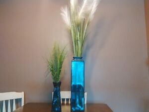 set of two blue glass vases