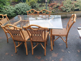 42. Wicker table and 6 chairs