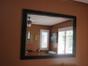 Mirror with Elegant Black and Silver Frame