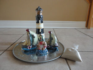 Brand new in box seaport theme candle set decorative accent