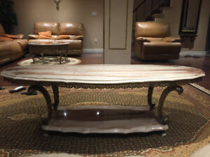 Beautiful Brass Marble Coffee Table and Side Tables