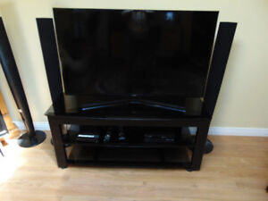 Metal and smoked glass TV stand